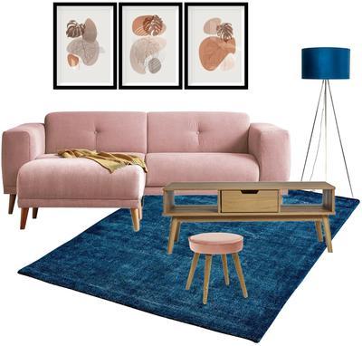 Ružovo-modrá obývačka