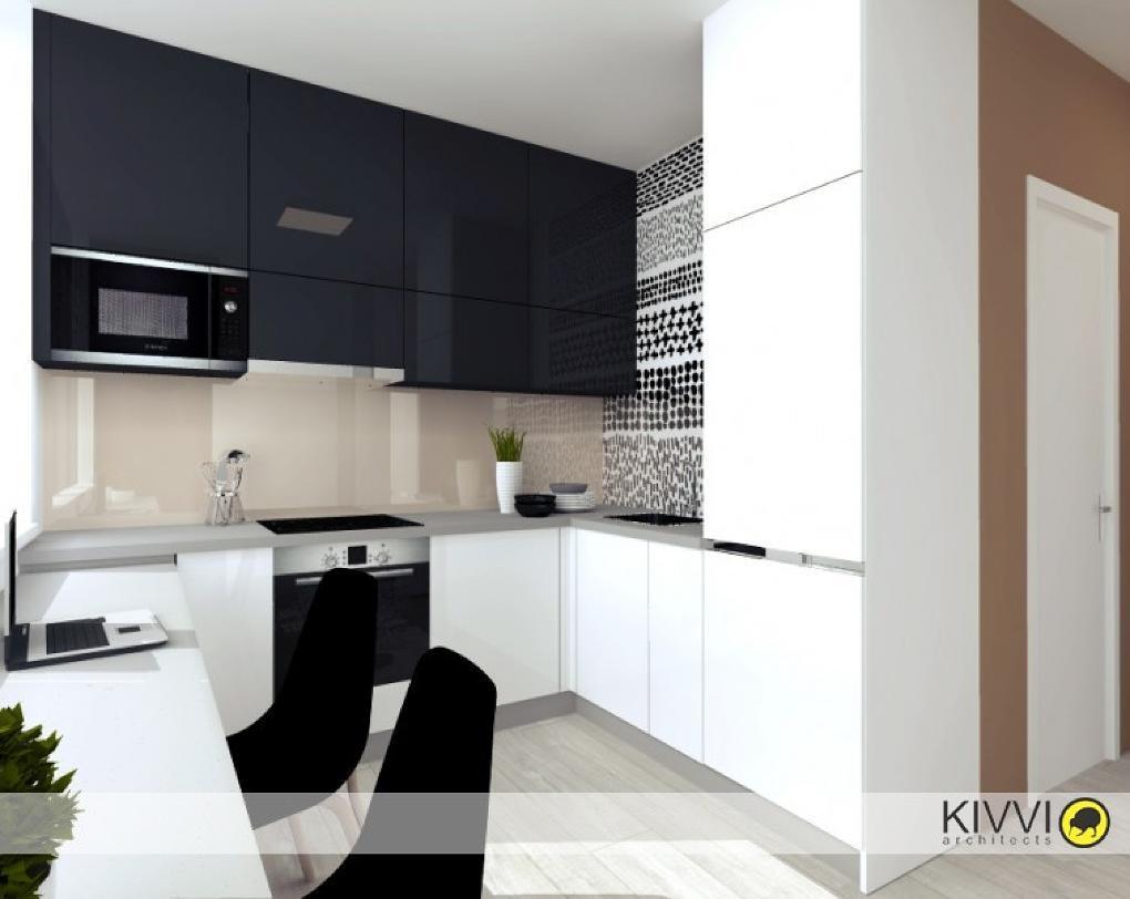 Návrh pánskej čiernobielej kuchyne s linkou s lesklými dvierkami od Kivvi architects