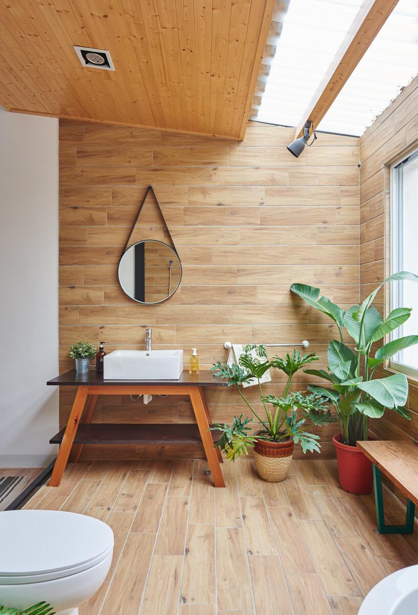 Stačí jeden veľký banánovník (vľavo) a o dominantu miestnosti aj čistý vzduch je postarané