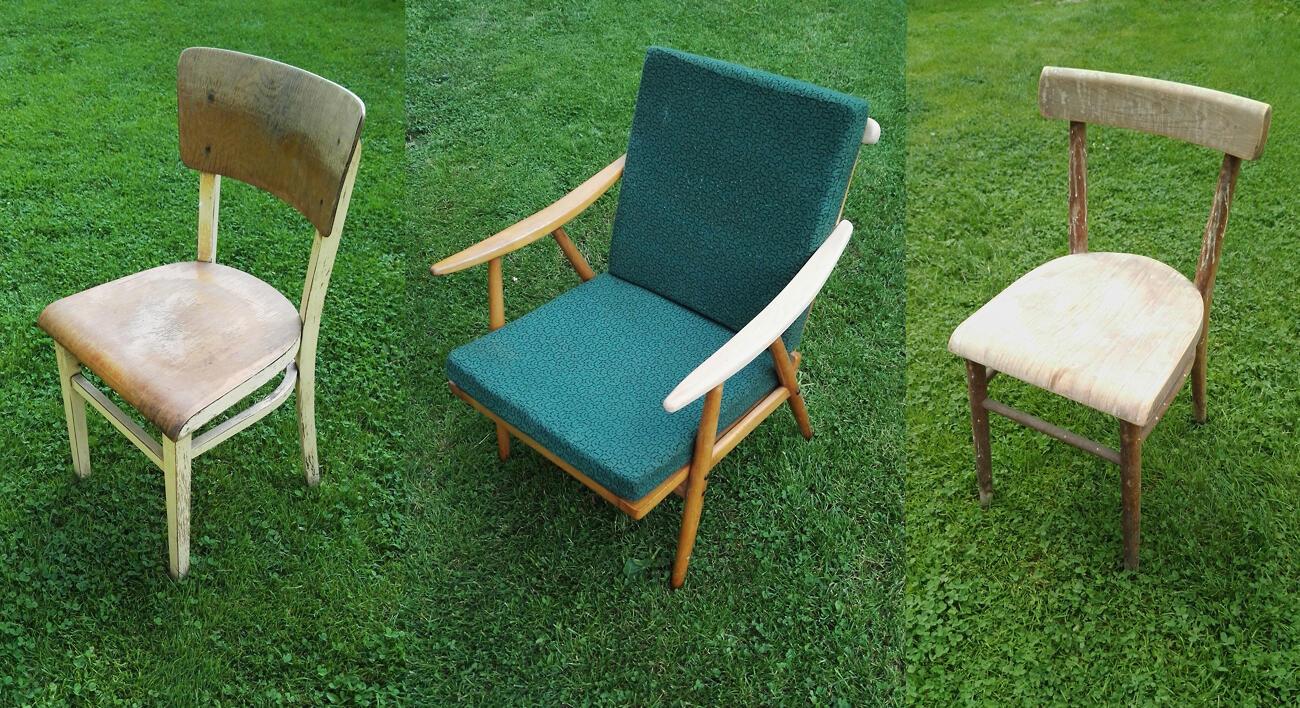 Pôvodný stav stoličiek a kresla - dnes sú takmer na nepoznanie.