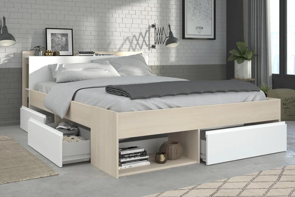 Manželská posteľ so zásuvkami Most 160x200 cm akácia