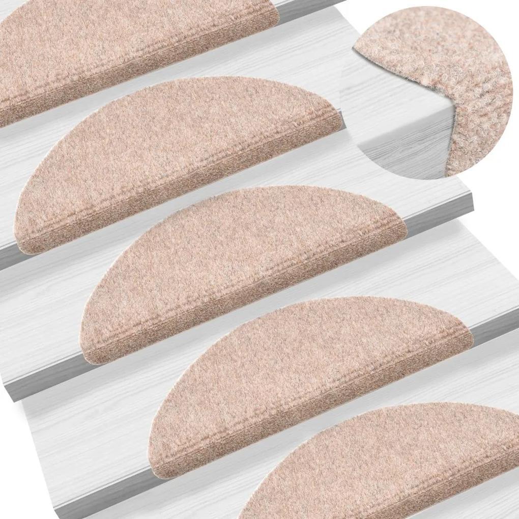 vidaXL Samolepiace kobercové nášľapy na schody 15 ks 56x16x4cm hnedé