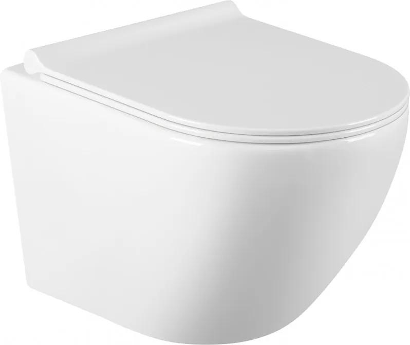 Mexen LENA Rimless, závesná WC misa so sedátkom pomaly-padajúcim SLIM, 48 x 36 cm, biela, 30220500