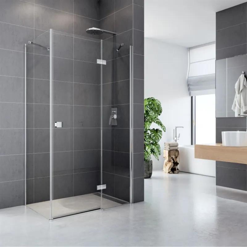 MAXMAX Sprchovací kút, Fantasy, obdĺžnik, 90x80 cm, chróm ALU, sklo Číre, dvere a pevný diel 90 obdélníkový