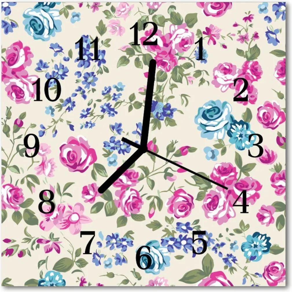 Sklenené hodiny štvorcové  ruže