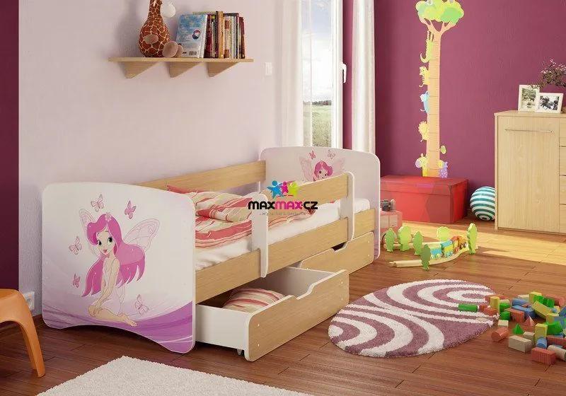 MAXMAX Detská posteľ Jednorožec funny 180x80 cm - sa zásuvkou 180x80 pre dievča ÁNO