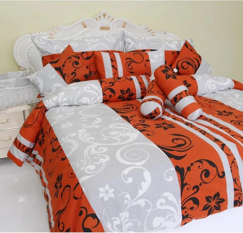 Obliečky bavlnený satén Emilien sivo-červené TiaHome 2x Vankúš 90x70cm, 2x Paplón 140x220cm