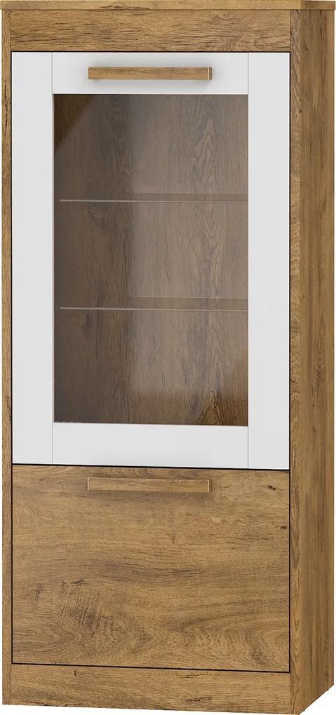MEBLOCROSS Maximus MXS-25 vitrína dub burgundský / biely lesk
