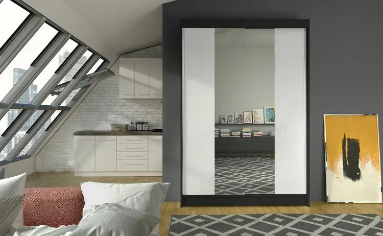 Čierna skriňa s bielymi zrkadlovými dverami Obidos 120 cm