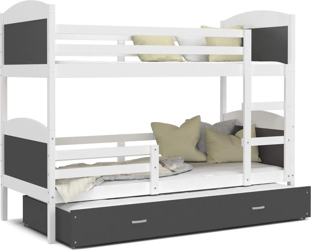 GL Poschodová posteľ Matúš 3 biela MDF s prístelkou Farba: Sivá, Rozmer: 190x80