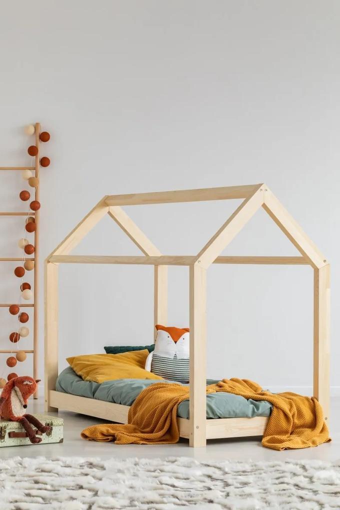 MAXMAX Detská posteľ z masívu DOMČEK - TYP A 140x80 cm