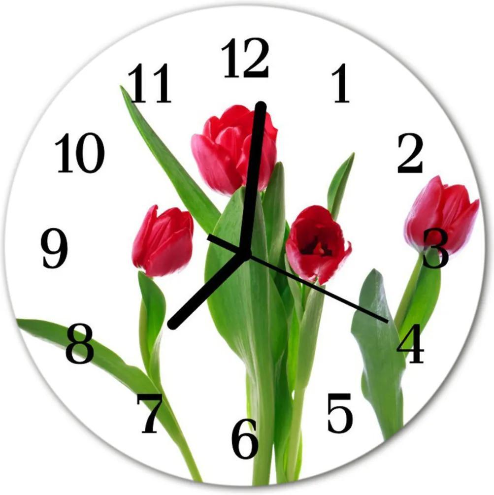 Nástenné skleněné hodiny tulipány