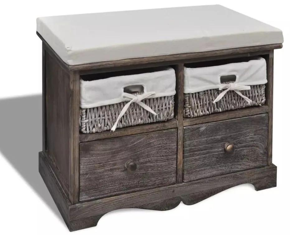 vidaXL Úložná lavica, hnedá 62x33x42 cm, drevo paulovnie