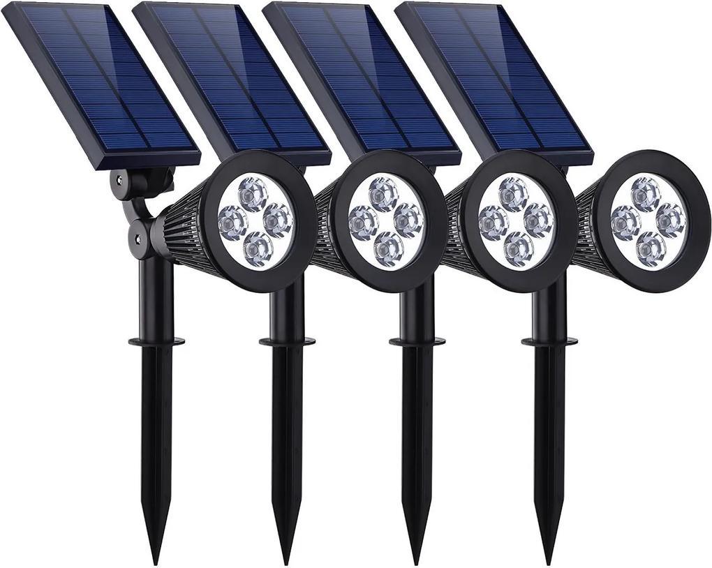 BEZDOTEKU LEDSolar 4 solárne vonkajšie svetlo svietidlo do zeme 4 ks, 4 LED so senzorom, bezdrôtové, iPRO, 1W, studená farba