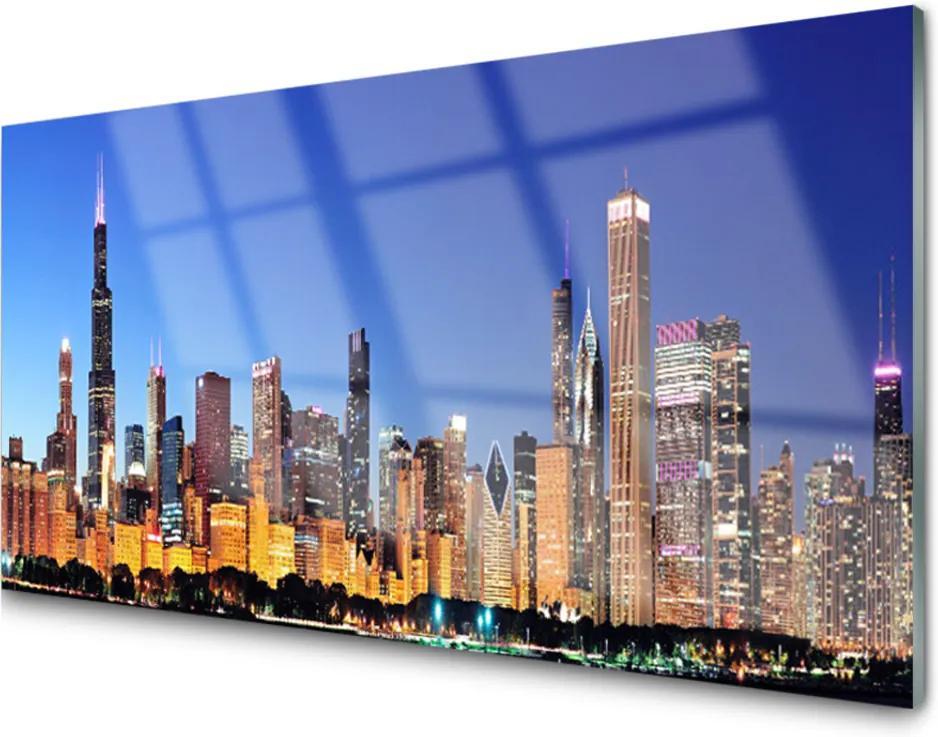Obraz na akrylátovom skle Sklenený Mesto Domy