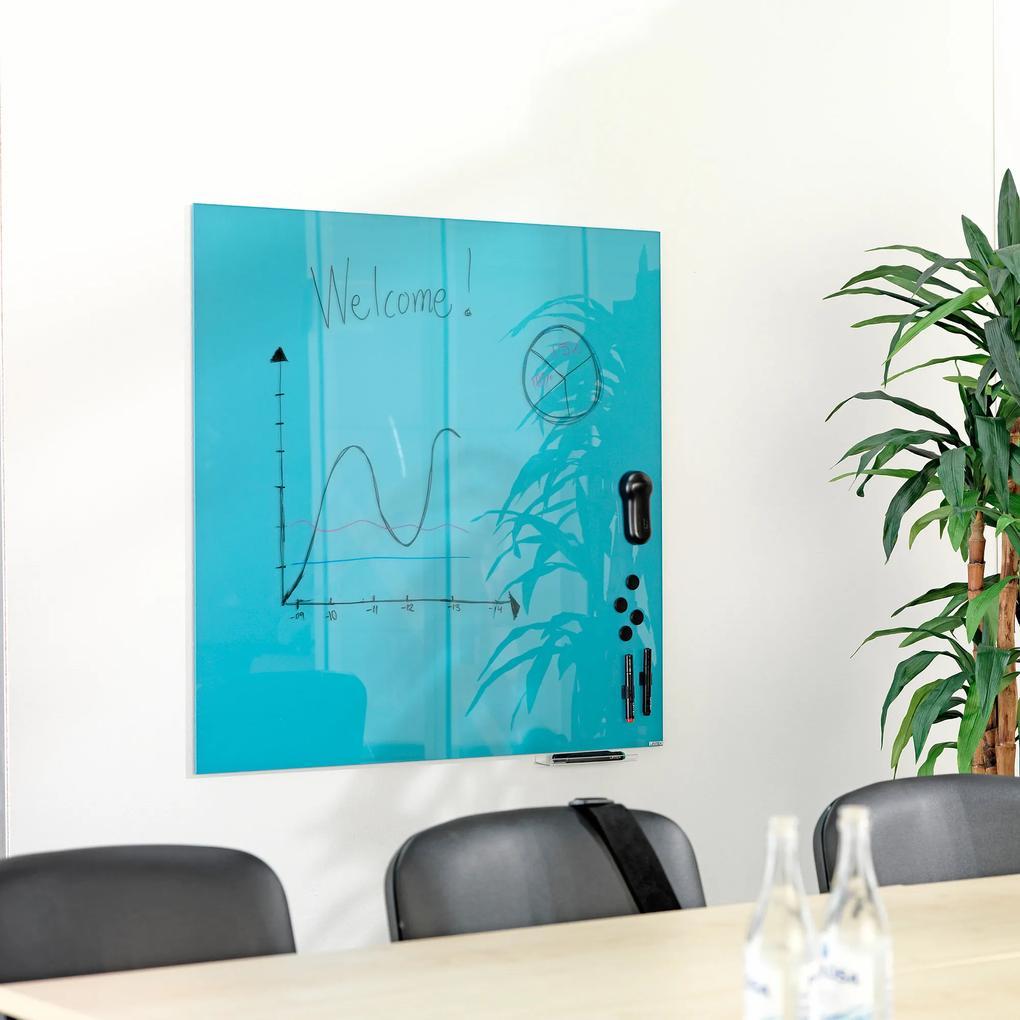 Sklenená magnetická tabuľa Stella, 1000x1000 mm, svetlomodrá