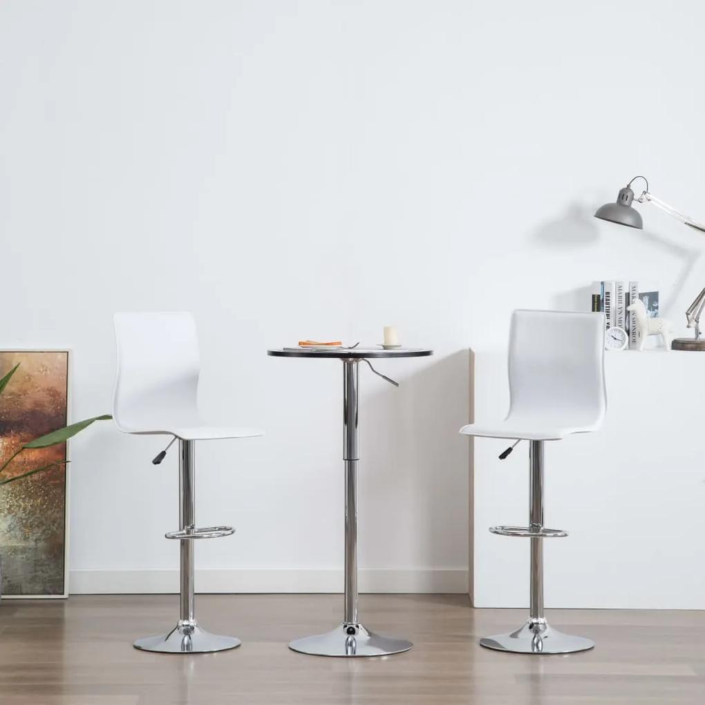 vidaXL Barové stoličky 2 ks, biele, umelá koža