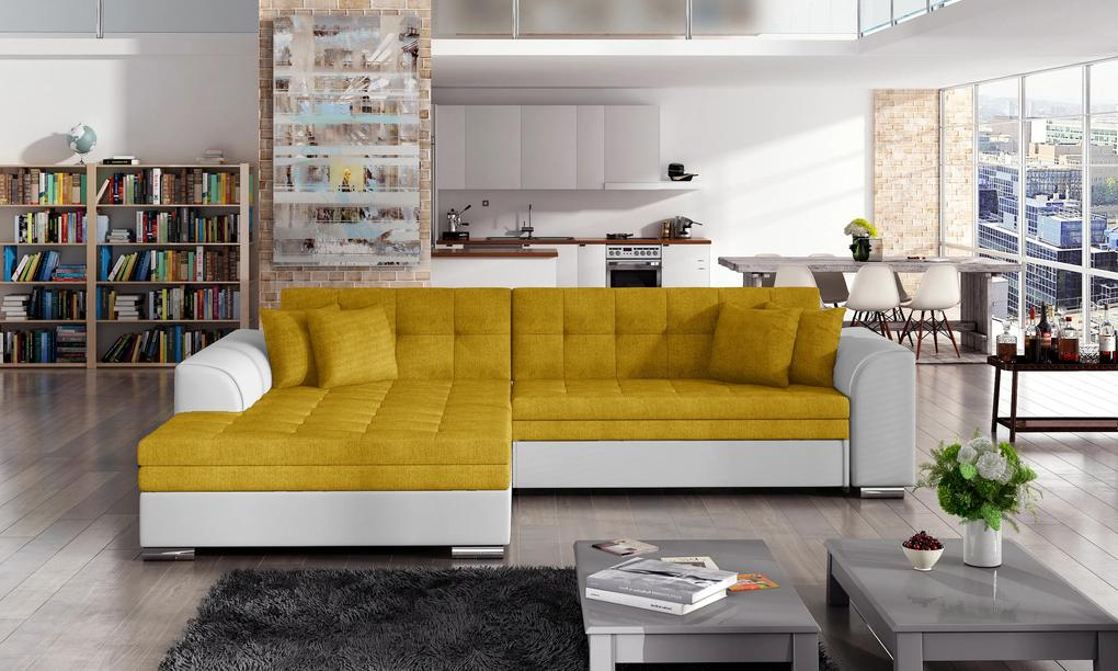 Moderná rohová sedačka Santos, biela / žltá Roh: Orientace rohu Levý roh