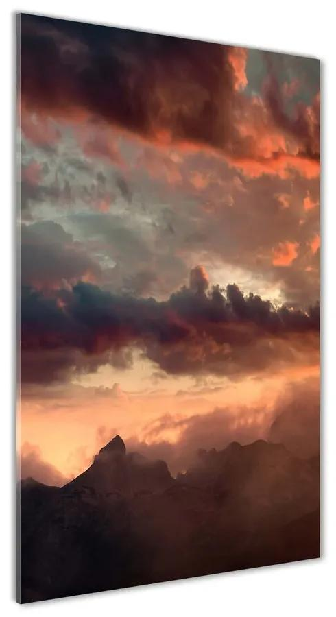 Foto obraz akrylový Západ slnka hory pl-oa-70x140-f-90609919