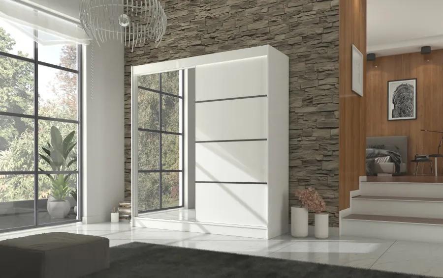 Biela priestranná šatníková skriňa Enyo 200 cm