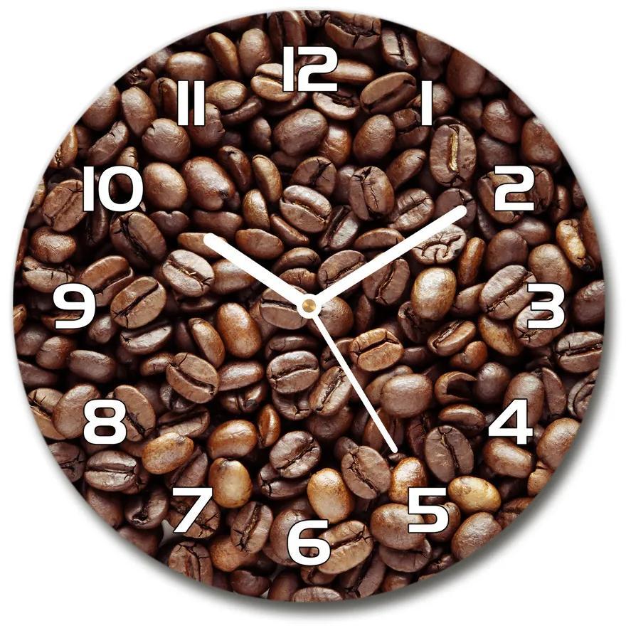 Sklenené hodiny na stenu Zrnká kávy pl_zso_30_f_57418754