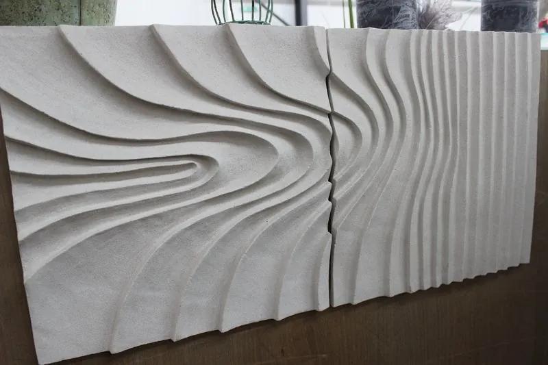 Krémový obraz v pieskovom dizajne 73x36 cm