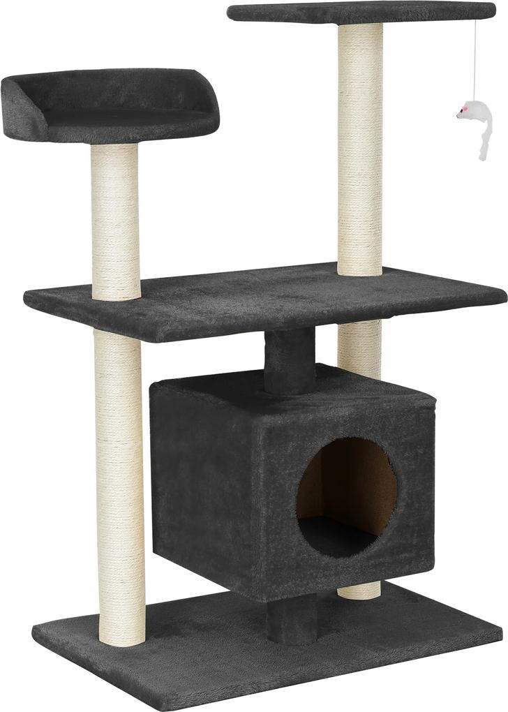 [en.casa]® Škrabací strom pre mačky - 60 x 40 x 95 cm - sivý
