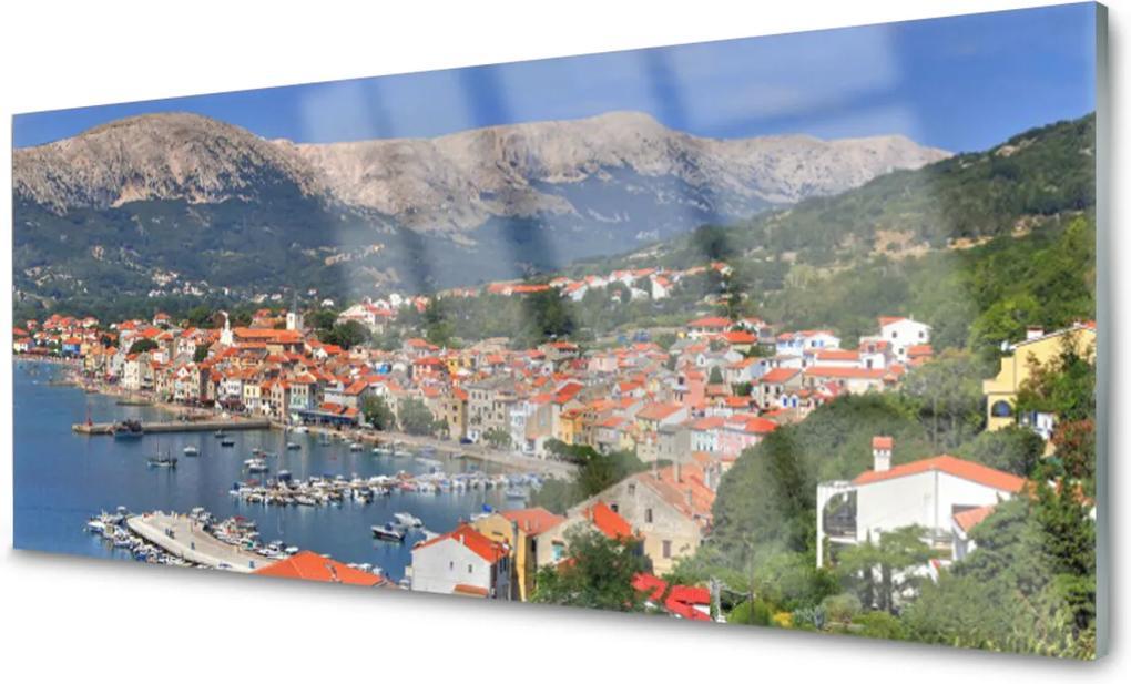 Obraz na skle Město hora moře krajina