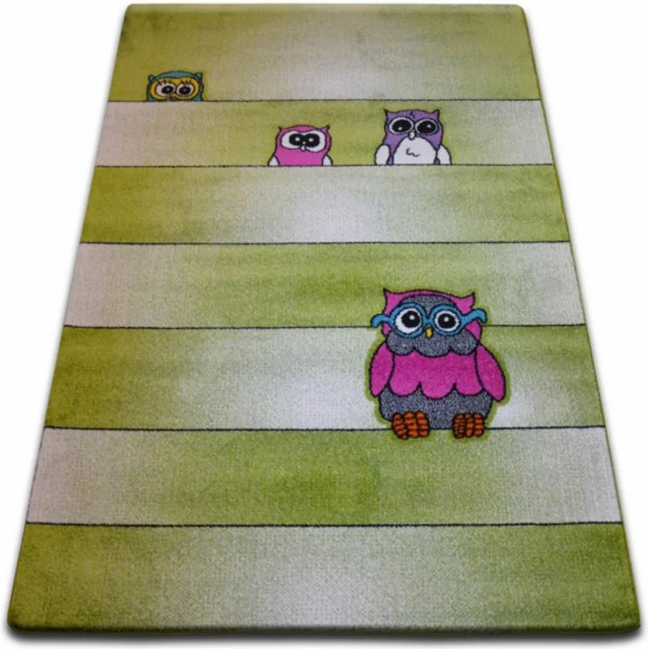 Detský kusový koberec Sovy zelený, Velikosti 240x330cm