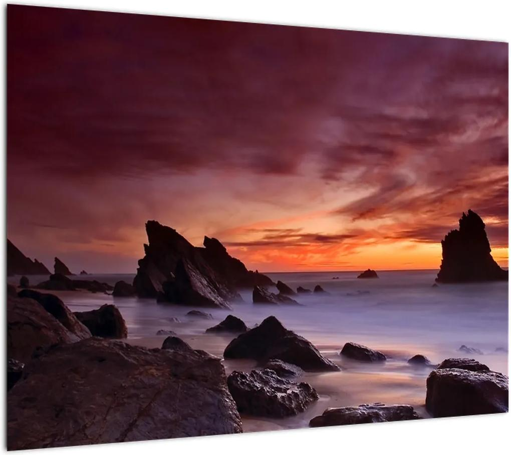 Obraz západu slnka na pobreží (70x50 cm), 40 ďalších rozmerov