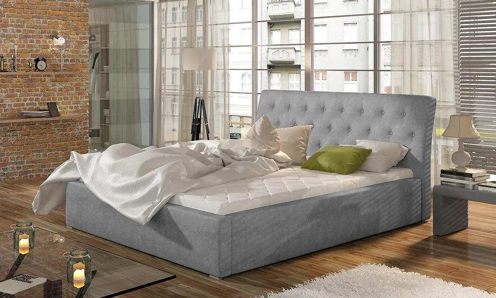 NABBI Monzo UP 160 čalúnená manželská posteľ s roštom svetlosivá (Paros 05)