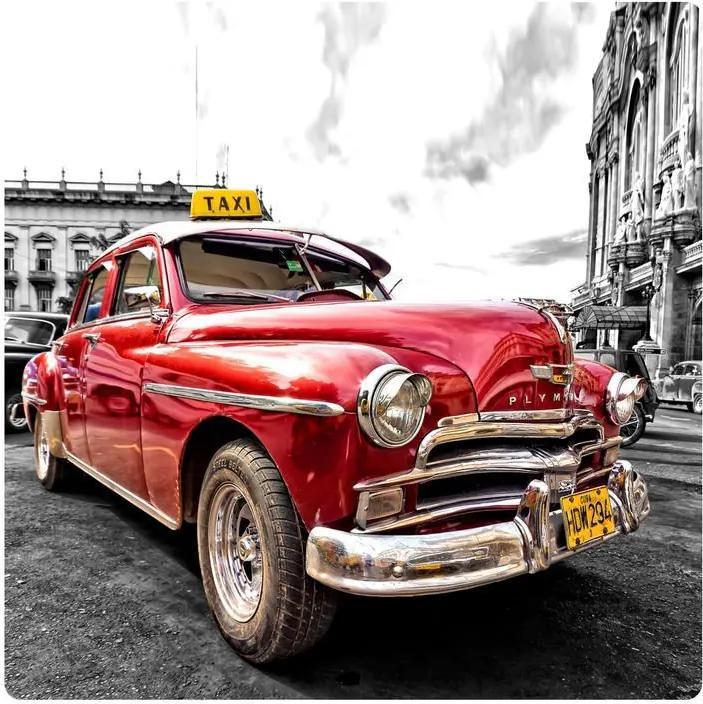 MAXMAX Dekoračné obrázok Kubánsky TAXI 19x19 cm