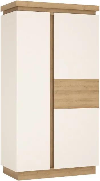 Skříň LYOS01, dub riviera / bílá s extra vysokým leskem, LEONARDO 0000194280 Tempo Kondela