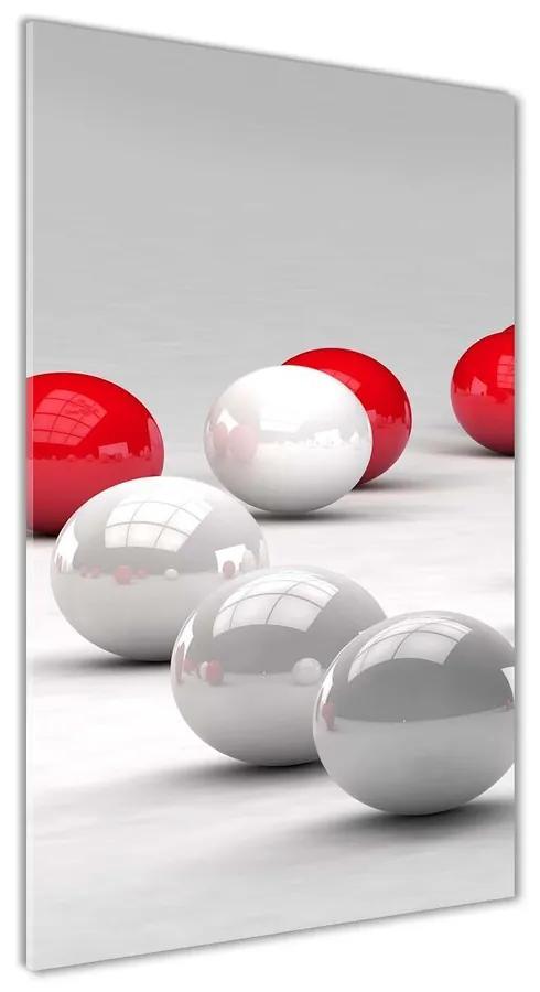 Foto obraz akrylový Červeno-biele gule pl-oa-70x140-f-84683831