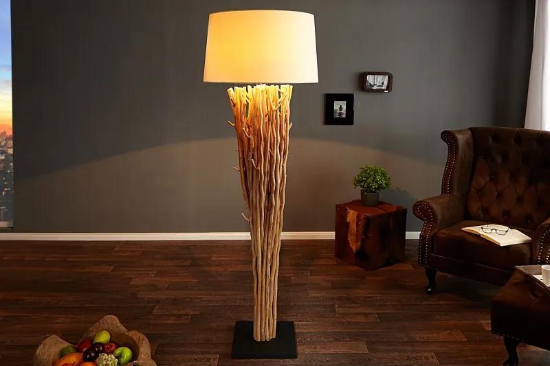 Masiv24 - Stojaca lampa EUPHORIA 180 cm - prírodná/biela