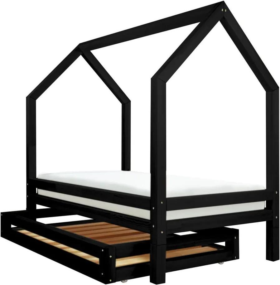 Set čiernej zásuvky a 4 prídavných nôh k posteli Benlemi Funny, 90 x 200 cm