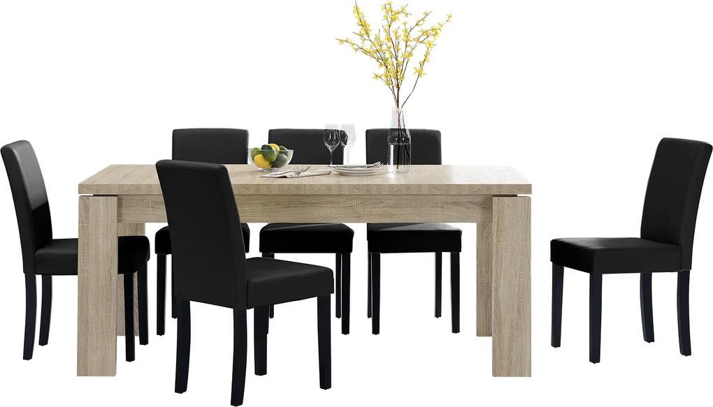 36ca99eb0dc2  en.casa ® Rustikálny dubový jedálenský stôl HTFU-2335 so 6 stoličkami ...