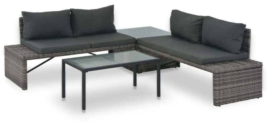vidaXL 3-dielna záhradná sedacia súprava s podložkami, polyratan, sivá