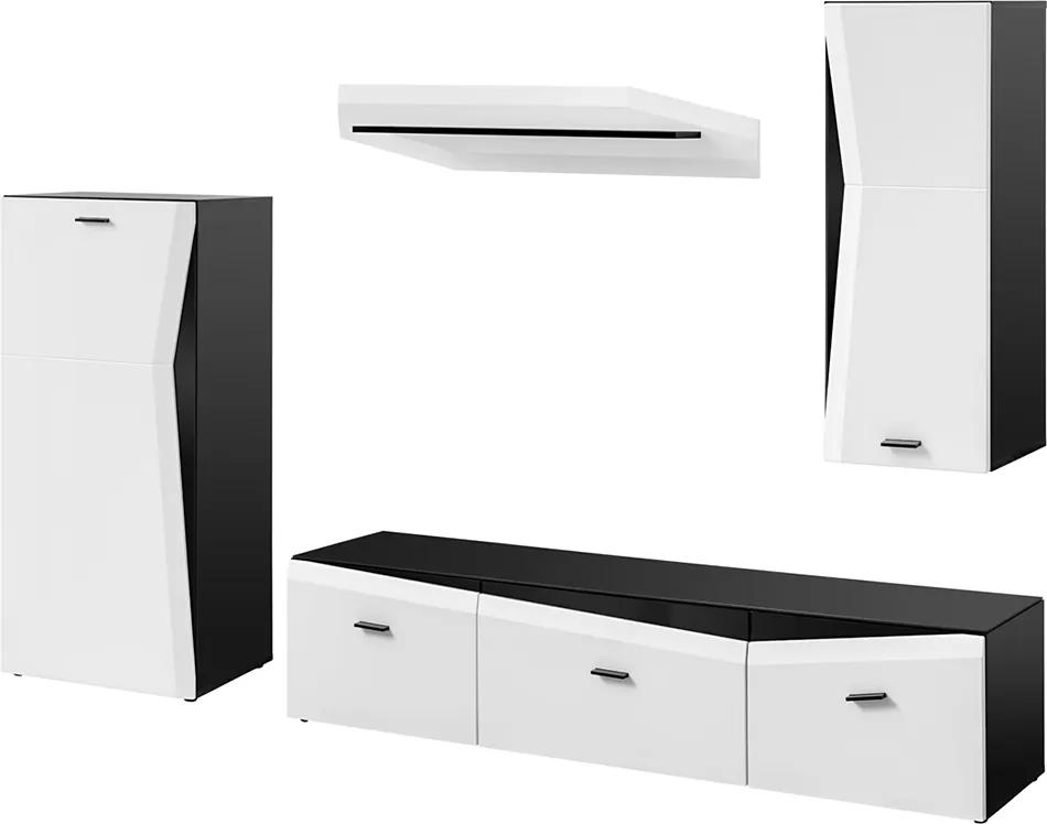 FURNIVAL Rake obývacia stena čierna / biela