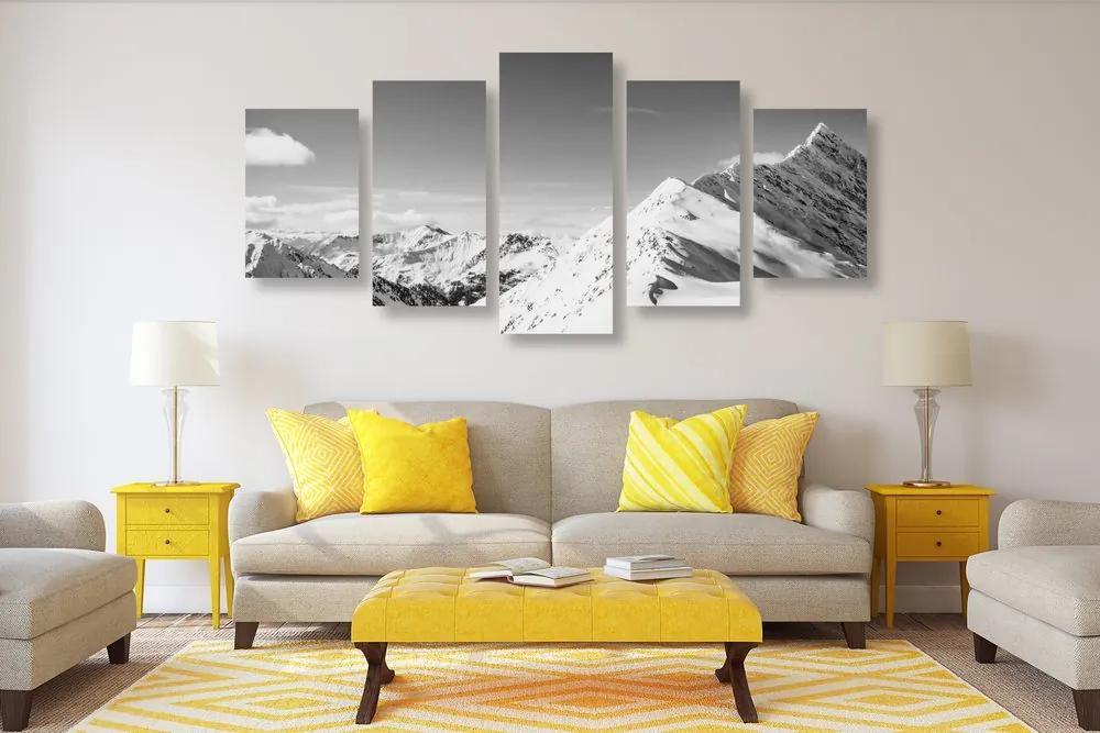 5-dielny obraz zasnežené pohorie v čiernobielom prevedení