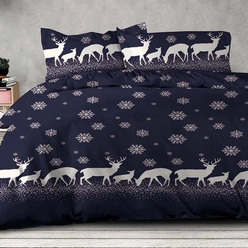 XPOSE ® Francouzské bavlněné povlečení INGRID - modrá, 200x220, 70x90