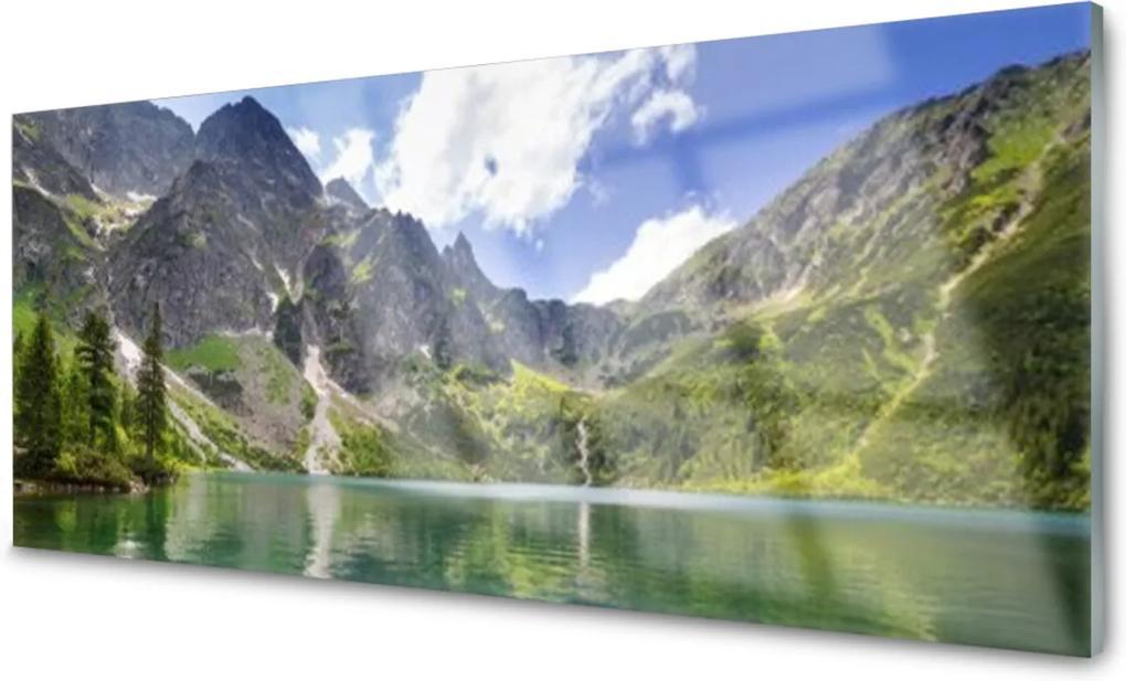 Skleněný obraz Hora Jazero Príroda