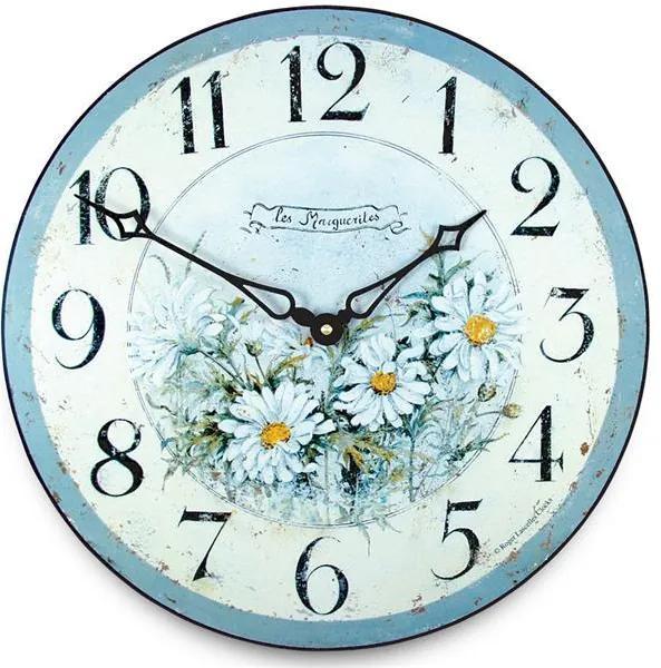 Isabelle Rose Drevené nástenné hodiny Les Marguerites 15 cm