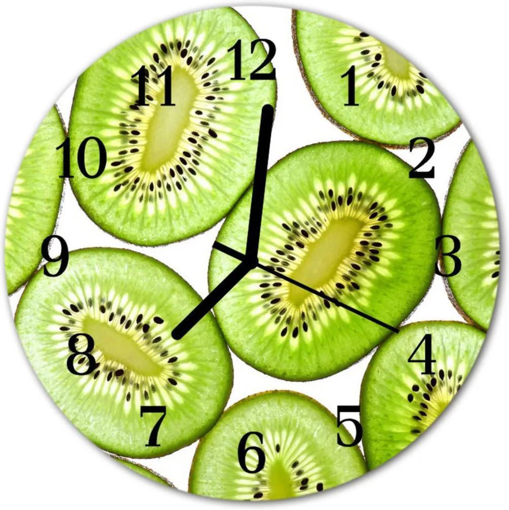 Sklenené hodiny okrúhle  kiwi