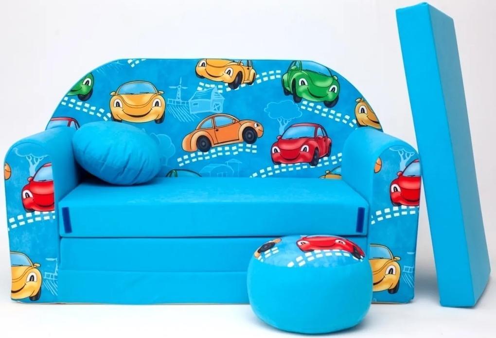 Detská pohovka autá - modrá 2 B11 +