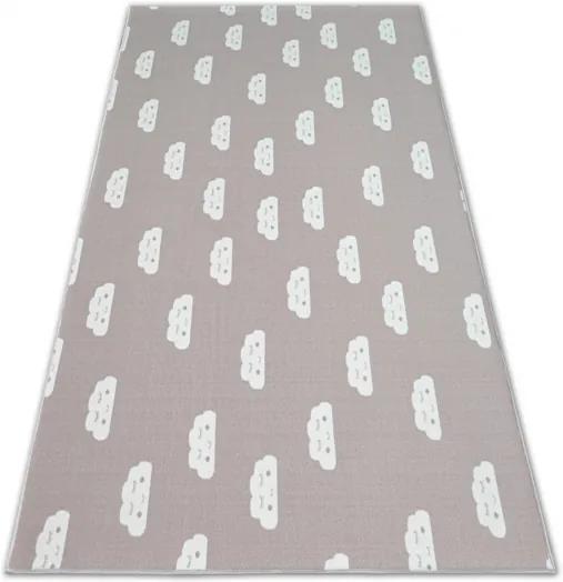 Detský protišmykový koberec CLOUDS ružový - 100x100 cm