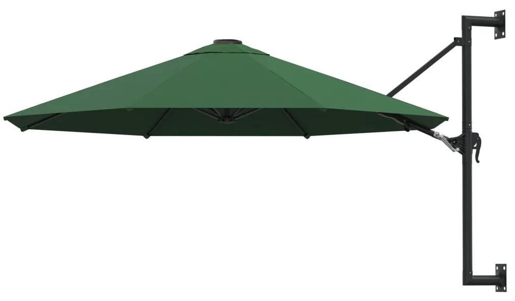 vidaXL Nástenný slnečník s kovovou tyčou 300 cm zelený