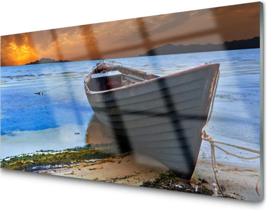 Sklenený obklad Do kuchyne Loď More Pobrežie Pláž