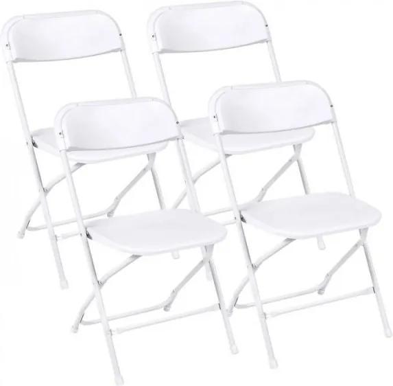 Skladacie plastové stoličky, biele, 4 ks