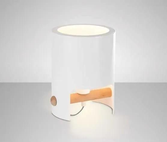 CUBE | dizajnová biela stolná lampa s drevom Rozmer: 19 cm